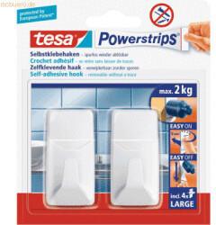 Tesa 6 x Klebehaken Powerstrips L Eckig Kunststoff Weiß VE=2 Stück