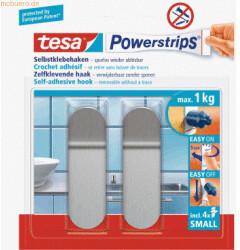 Tesa 6 x Klebehaken Powerstrips S Edelstahl VE=2 Stück