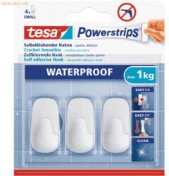 Tesa 6 x Klebehaken Powerstrips S Kunststoff weiß Tragfähigkeit 1kg wasserfest VE=3 Stück