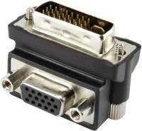 Renkforce DVI / VGA Adapter [1x DVI-Stecker 24+5pol. - 1x VGA-Buchse] 90° gewinkelt Schwarz