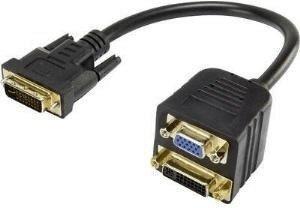 Renkforce DVI / VGA Y-Adapter [1x DVI-Stecker 24+5pol. - 1x VGA-Buchse, DVI-Buchse 24+5pol.] Schwarz