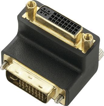 Renkforce DVI Adapter [1x DVI-Stecker 24+5pol. - 1x DVI-Buchse 24+5pol.] 90° gewinkelt Schwarz