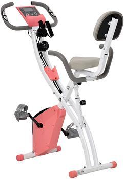 Homcom Heimtrainer Fahrradtrainer mit LCD Display rosa