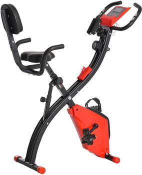 Homcom Heimtrainer Fahrradtrainer mit LCD Display rot