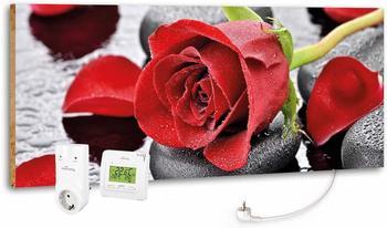 Marmony 800W Infrarot-Heizung Motiv Red Rose mit Thermostat MTC-35