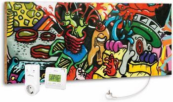 Marmony 800W Infrarot-Heizung Motiv Graffiti mit Thermostat MTC-35