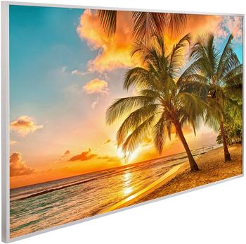 Papermoon Infrarotwandheizgerät Barbados Palmen EcoHeat , Aluminium, 600 W, 100x60 cm bunt
