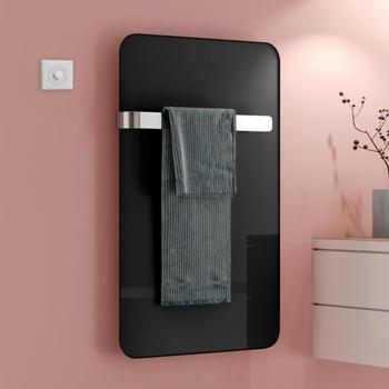 Kermi Elveo H: 100 B: 60 cm mit Elektro-Set WFS/Handtuchhalter schwarz
