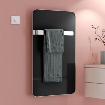 Kermi Elveo H: 100 B: 60 cm mit Elektro-Set WFS/Handtuchhalter schwarz/aluminium