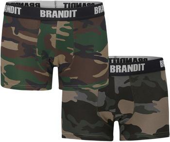Brandit Boxer Shorts Logo 2er Pack woodland/darkcamo