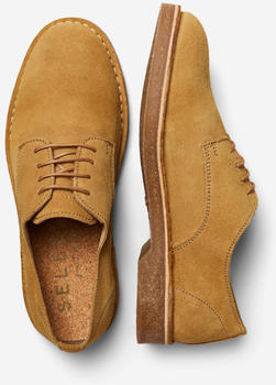 Selected Slhriga Suede Derby Shoe B (16078897) cognac