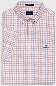 GANT Regular Fit Short Sleeve Broadcloth Three-Color Tattersall Shirt ivy gold (3004371-710)