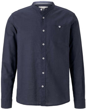 Tom Tailor Hemd mit Mao-Kragen aus Leinengemisch (1017354) navy