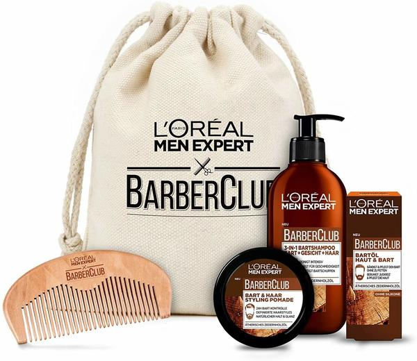 LOréal Paris LORÉAL Men Expert Barber Club Premium Geschenkset, Stoffbeutel mit Bartshampoo, Bartöl, Stylingpomade und gratis Bartkamm