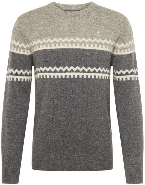 GANT Holiday Stripe Crew Sweater dark grey (8010033-92)