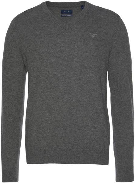 GANT Extra Fine Lambswool V-Neck Sweater dark charcoal melange (8010520-97)