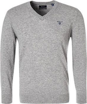 GANT Extra Fine Lambswool V-Neck Sweater grey melange (8010520-93)
