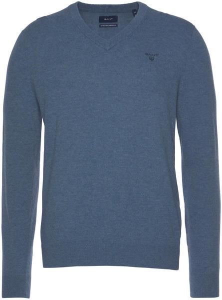 GANT Extra Fine Lambswool V-Neck Sweater stone blue melange (8010520-489)