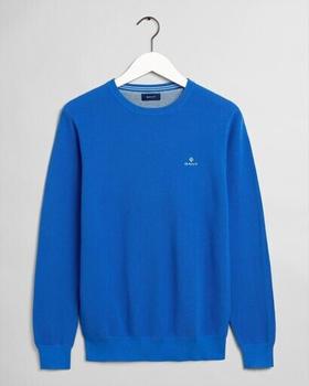 GANT Rundhalspullover aus Baumwoll-Piqué (8030521-466) strong blue