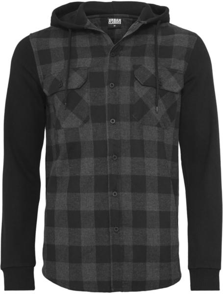 Urban Classics Hooded Checked Flanell Sweat Sleeve Shirt (TB513-00690-0042) blk/cha/bl