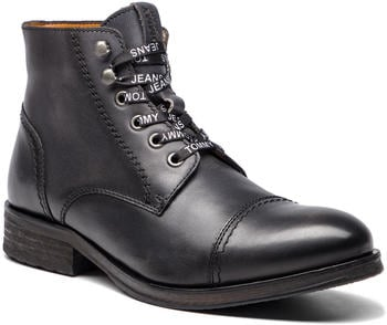 Tommy Hilfiger Dressy Leather Lace Up Combat Boots (EM0EM00136) dark Shadow