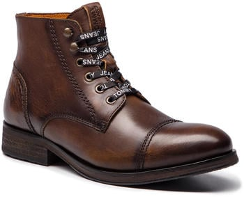 Tommy Hilfiger Dressy Leather Lace Up Combat Boots winter (EM0EM00136) winter cognac
