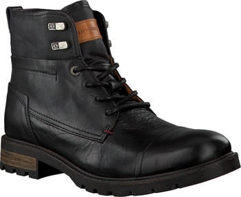 Tommy Hilfiger Winter Leather Textile Mix Combat Boots (FM0FM00711) black