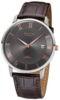 REGENT Herren-Armbanduhr 32-f-1030 Quarz-Uhr Leder-Armband braun URF1030