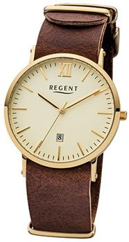 Regent Herren-armbanduhr 32-f-1033 Quarz-uhr Leder-armband braun Urf1033