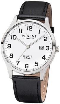 REGENT Quarz-Uhr Leder-Armband schwarz