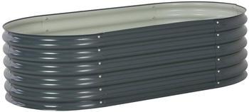vidaXL Hochbeet Stahl 160x80x44cm grau