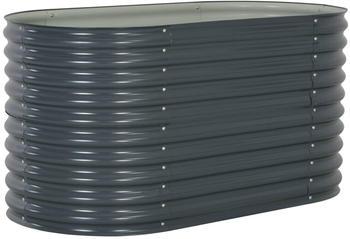 vidaXL Hochbeet Stahl 160x80x81cm grau