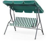 Beliani Hollywoodschaukel grün/weiß 3-Sitzer