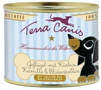 terra-canis-welpenmenue-gefluegel-mit-kuerbis-kamille-und-bluetenpollen-12x200g