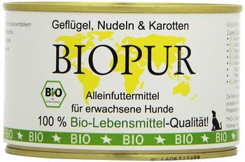 BIOPUR Bio Hundefutter Geflügel, Nudeln, Karotten 400 g, 12er Pack (12 x 400 g)