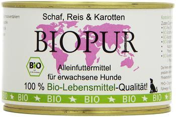 BIOPUR Bio Hundefutter Schaf, Reis, Karotten 400 g Glutenfrei, 12er Pack (12 x 400 g)