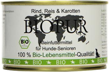 Biopur Bio Hundefutter Senior: Rind, Reis, Karotten 400g Glutenfrei, 12er Pack (12 x 400 g)