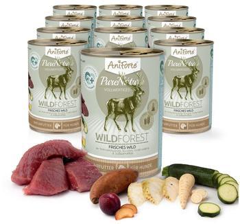 AniForte Aniforte Purenature Nassfutter 400g Wild Forest Hundefutter- Naturprodukt für Hunde (Frisches Wild, 12x400g)