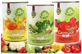 Schecker DOGREFORM Gemüse pur grün rot gelb jetzt je 12x 410g von jeder Sorte 36 Dosen