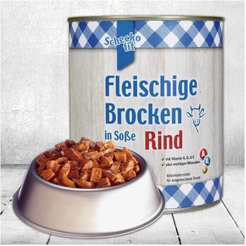 Schecker Schecko fit Fleischige Brocken in Soße - Rind Nassfutter