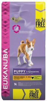 Eukanuba Puppy Medium Breed with chicken (15 kg + 3 kg for free)