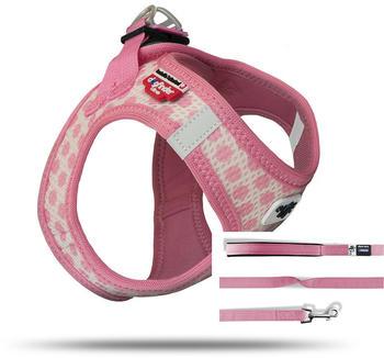 Curli Vest Geschirr Puppy Set Pink Circles M