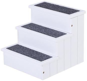 Pawhut Haustiertreppe mit 3 Stufen 40,5x44,5x38cm weiß