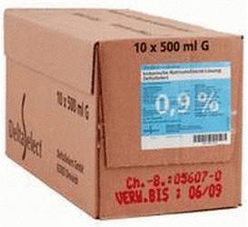 Deltaselect Kochsalzlösung 0,9 % Glas (10 x 500 ml)