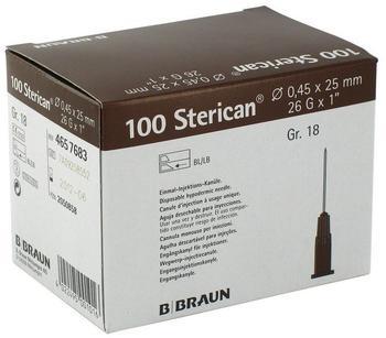 B. Braun STERICAN Kan.Luer-Lok 0,45x25mm Gr.18 braun ( 100 Stk.)