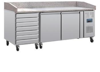 Polar Serie U 2-türiger Pizzakühltisch mit Marmorfläche und 7 Schubladen 428L