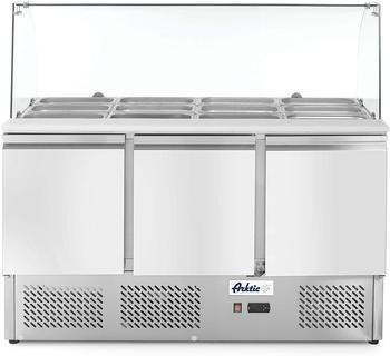 Hendi Kühltisch, Saladette, Dreitürig, mit Glasdisplay, max -2 bis 8°C, Inklusive 3 Fachböden, je bis 15kg belastbar (bei gleichmäßiger Verteilung), 380L, 230V, 310W, 1365x700x(H)1300mm, Edelstahl