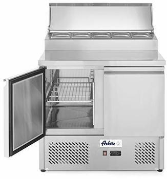 Hendi Kühltisch, Zweitürig, mit Aufsatskühlvitrine, max -2 bis 8°C, Aufsatz für 5x GN 1/6, 2 Regalböden, je bis 15kg belastbar, 300L, 230V, 310W, 900x700x(H)1055mm, Edelstahl