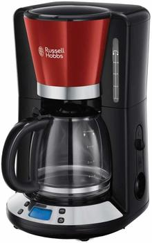 Russell Hobbs 24031-56 Colours Plus+ Flame Red, 1.25l, WhirlTech-Brühtechnologie, digitales Bedienelement mit Glaskanne
