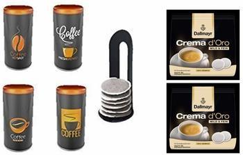 Dallmayr Prodomo 2x16 St. + Kaffeepaddose 4er Set